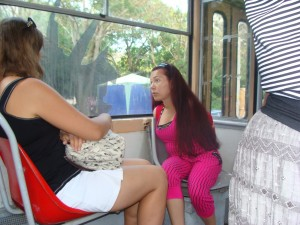 Марина в евпаторийском трамвае